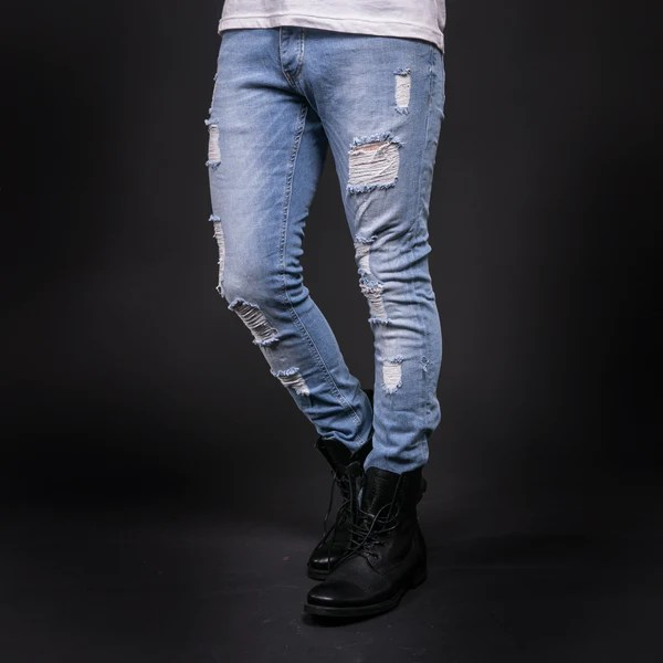 Ripped Light Blue Jeans Mens