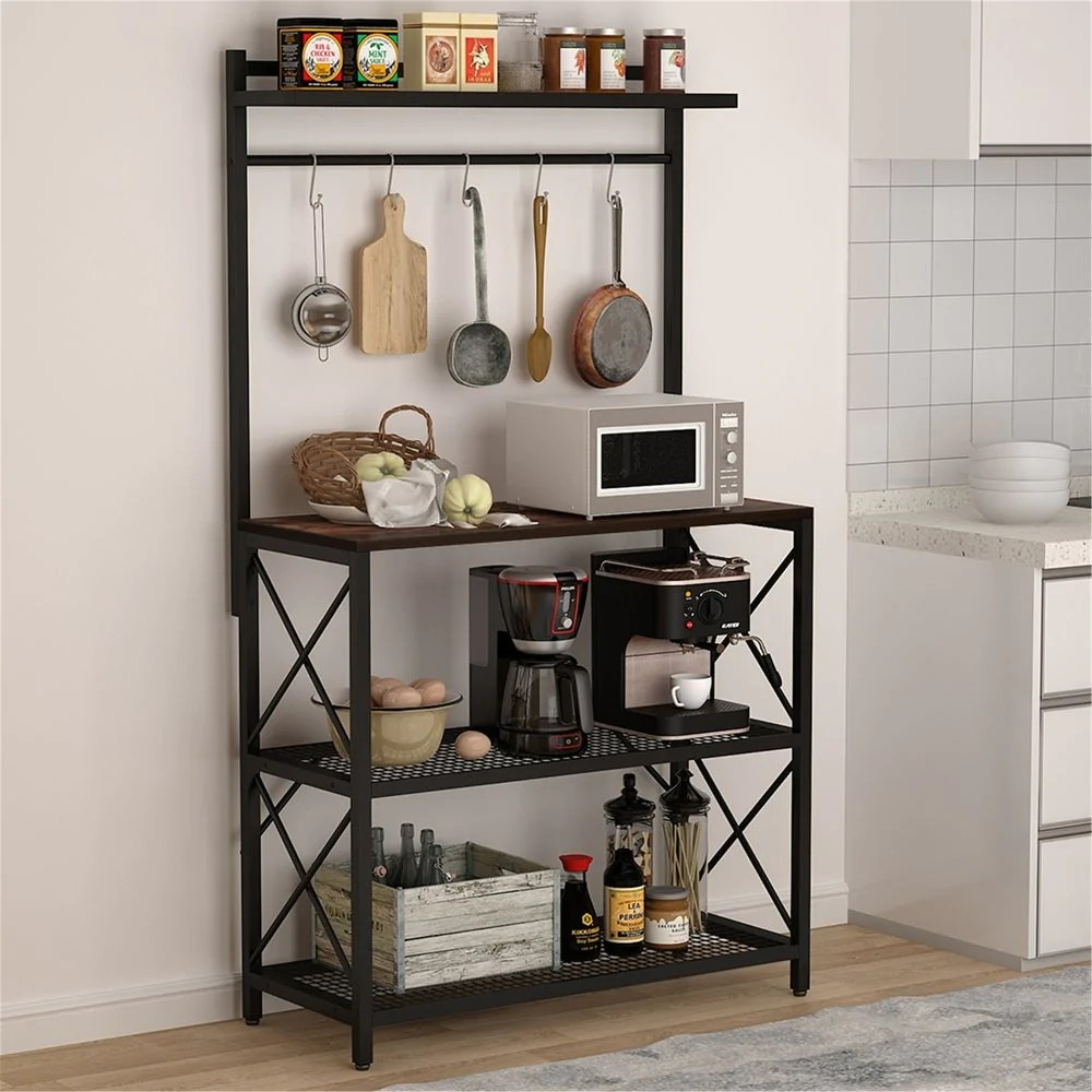 kitchen baker s rack oven stand rack with 5 hooks brown