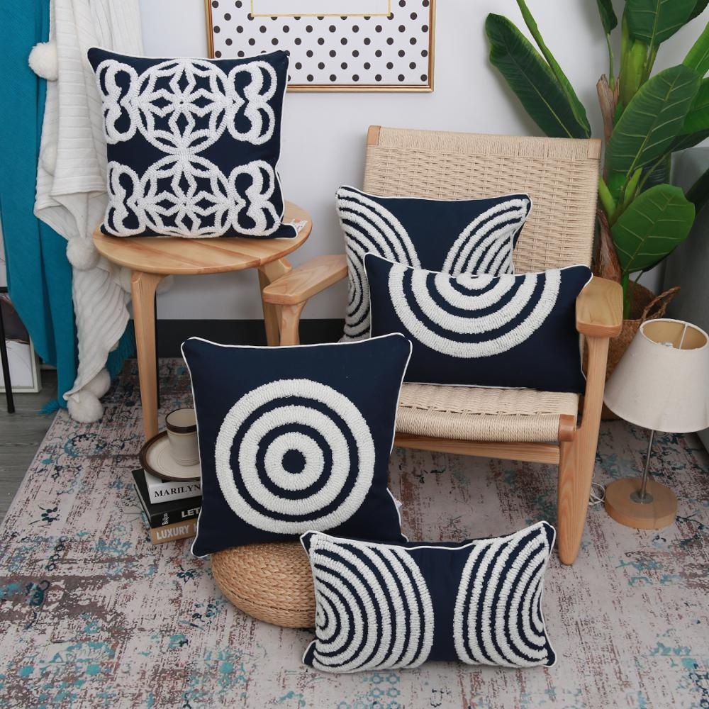 navy blue cushion cover 45x45cm pillow cover cotton embroidery morroccan style circle for home decoratio living room bed room