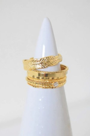 nature-inspired accessories Goddess Ring Stack - Gold