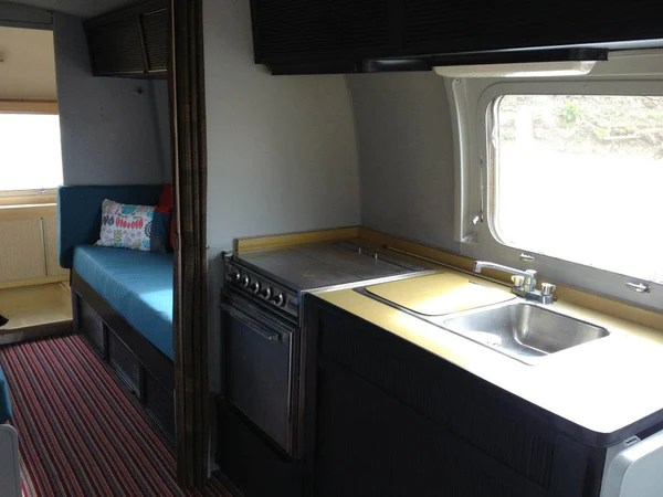 New interior of vintage airstream caravan