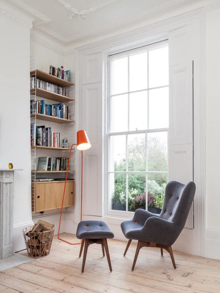 mid century armchairs london. mid century armchair and bookcase in georgian house armchairs london