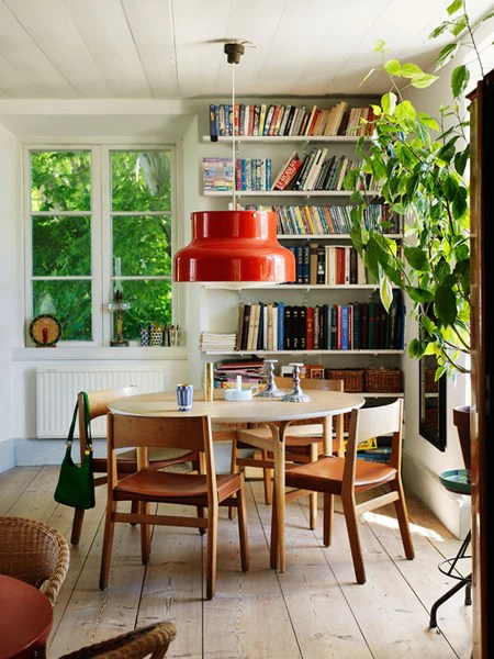 Orange Retro Lamp Above A Mid Century Dining Table In Cottage