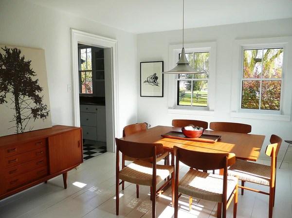 midcentury modern furniture set in victorian cottage