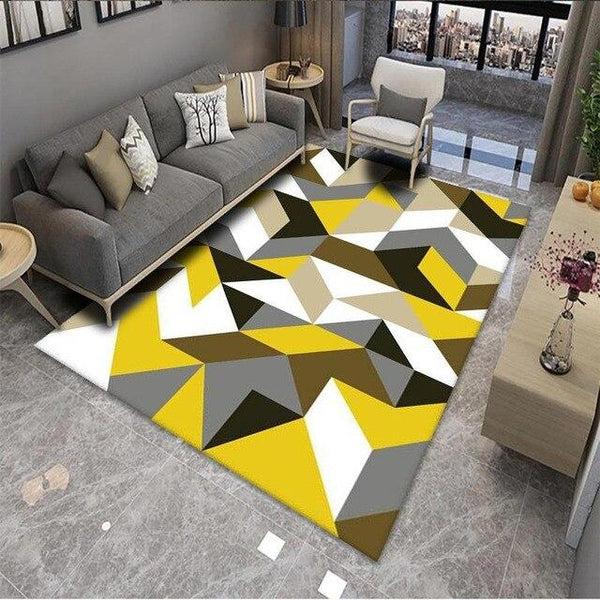 tapis scandinave jaune et gris