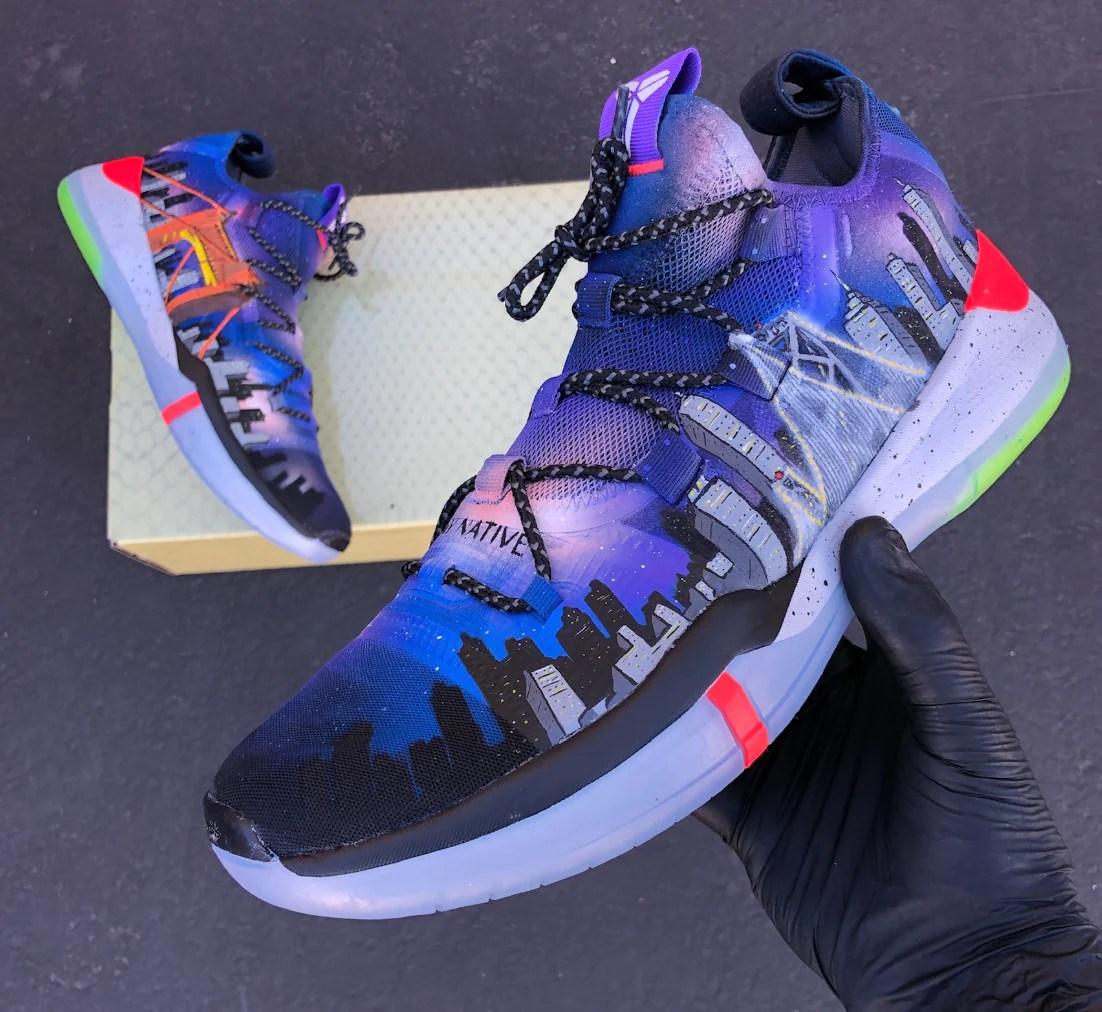 Bay Area Custom Painted Kobes Basketball Shoes B
