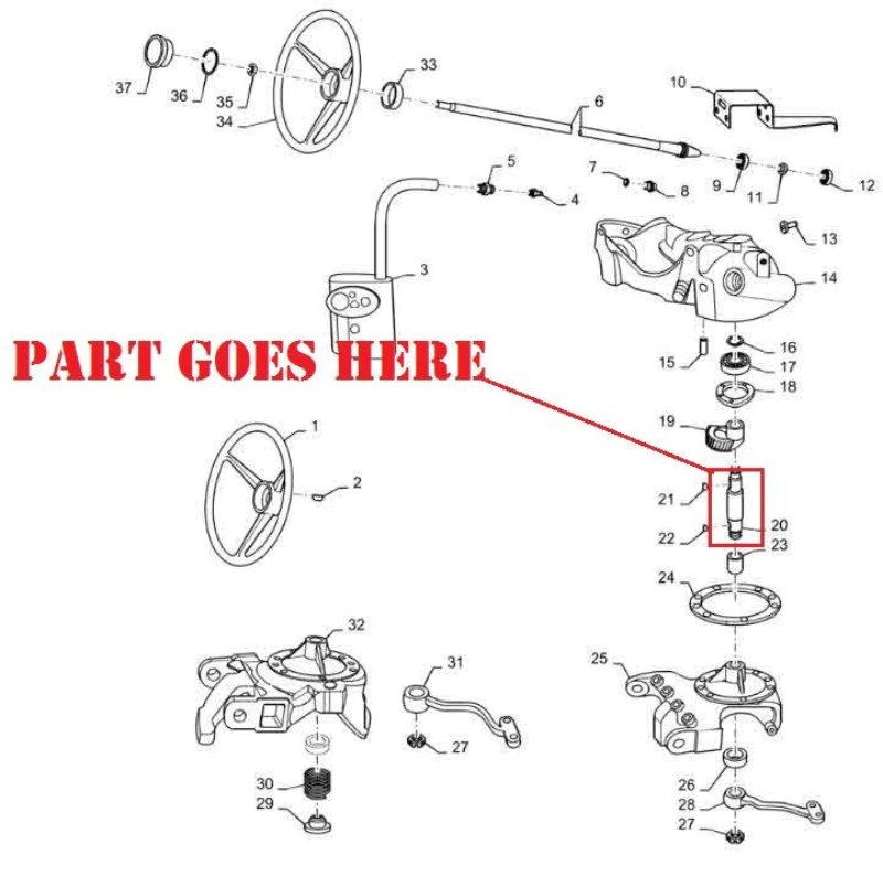 New Steering Worm Gear Shaft for Farmall 140 Tractors, USA