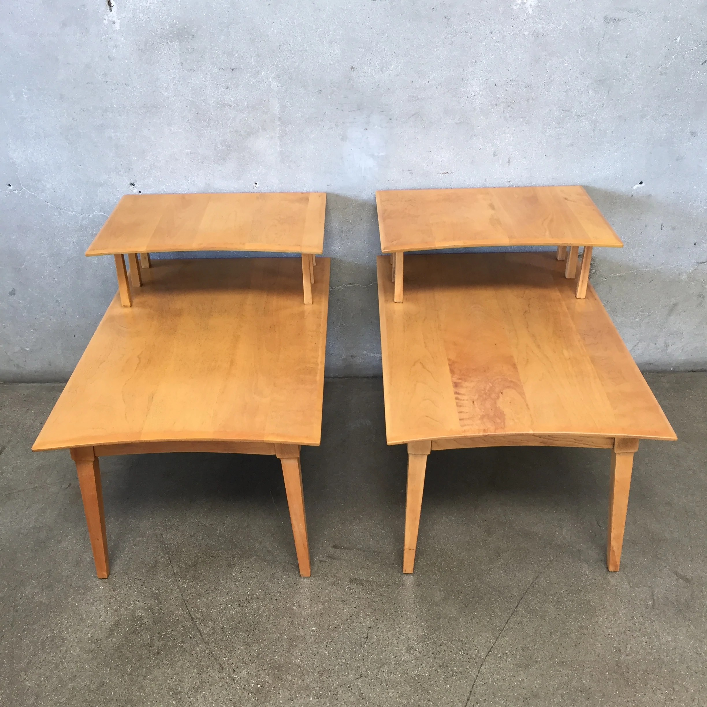 mid century solid wood two tiered end