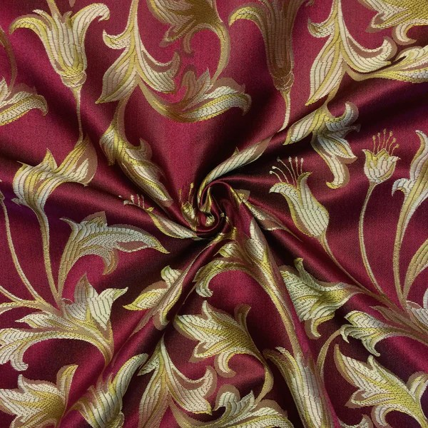 Jacquard Damask Print Fabric Burgundy Gold For Curtains And Decoration Fabric Wholesale Direct