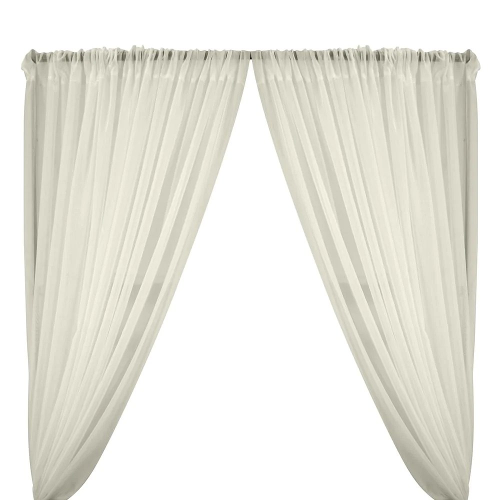 sheer voile rod pocket curtains off white