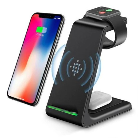 3 In 1 Wireless Charging Stand Qi 10W Fast Charging Station For iPhone iWatch
