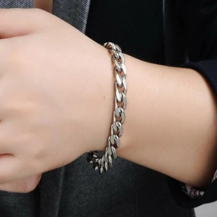 "Men's Sterling Silver Bracelet Cuban Link Chain Bracelet 8.5"" Length"