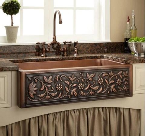 42 vine design copper farmhouse sink single bowl hammered 100 copper