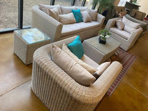 monte carlo 5 piece outdoor wicker pe rattan patio furniture set