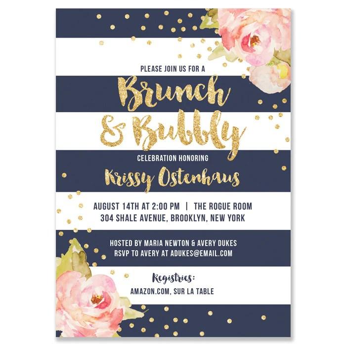 krissy navy stripe brunch bubbly bridal shower invitation