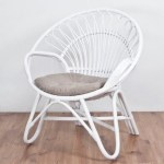 Round Rattan Chair With Cushion White Painted Hemma Online Furniture Store Singapore