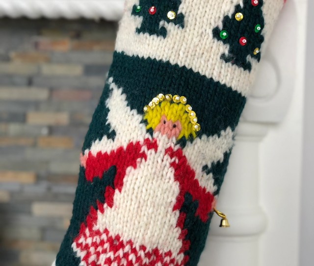 Personalized Angel Christmas Stocking Hand Knit