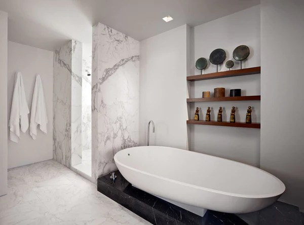 the marble bathroom