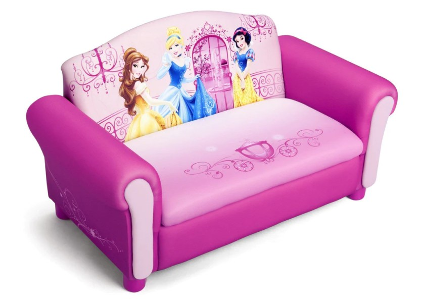 Princess Upholstered Sofa with Storage   Delta Children Delta Children Princess Upholstered Sofa with Storage Right Side View a1a