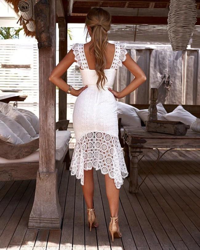 Vestido Tubinho Branco de Renda Crochê Midi