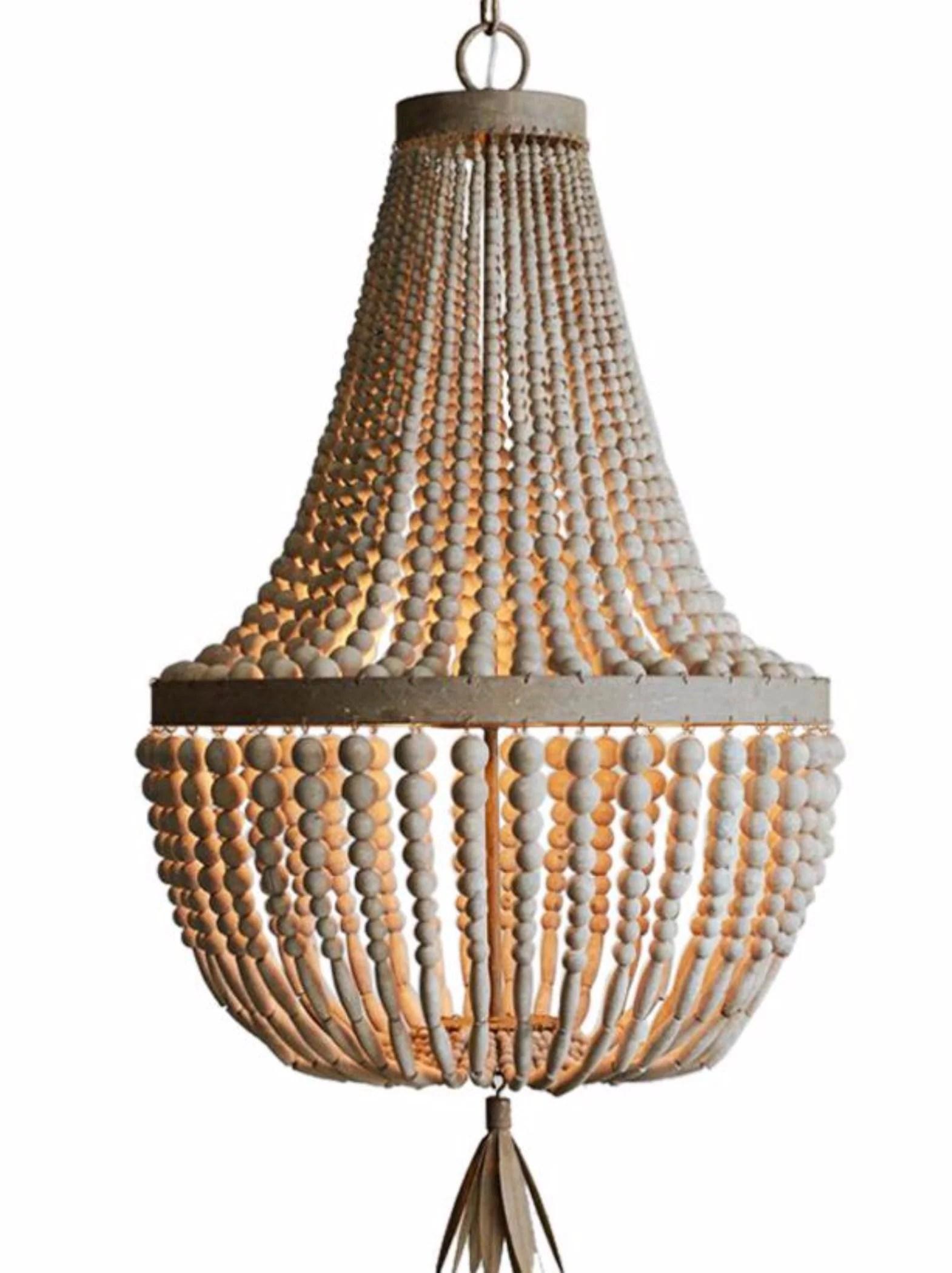 kay primitive wooden beaded empire chandelier