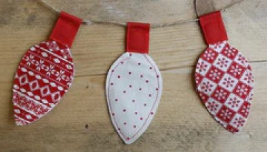 Handmade Christmas Nordic Fabric Fairy Light Bunting Garland -
