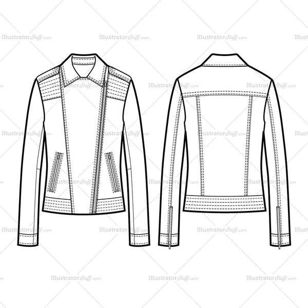 2 Types Of Collar Moto Jacket With Large Trapunto Stitching Flat Templ Illustrator Stuff