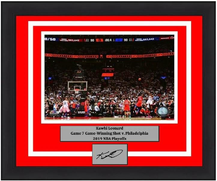 kawhi leonard toronto raptors game winning shot v 76ers 8x10 framed photo with engraved autograph