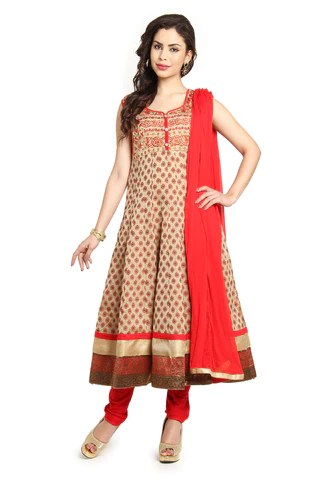 Soch Beige Chanderi Anarkali Chudidar Set -Stka Cd 10016