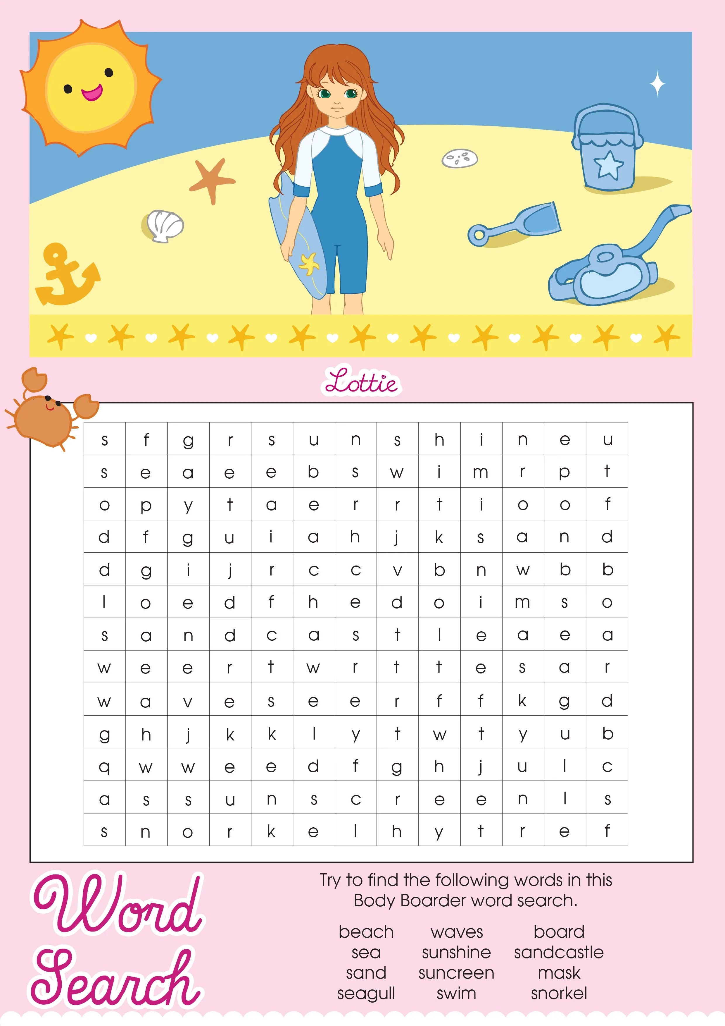 Body Boarder Lottie Printable Word Search Lottie Dolls