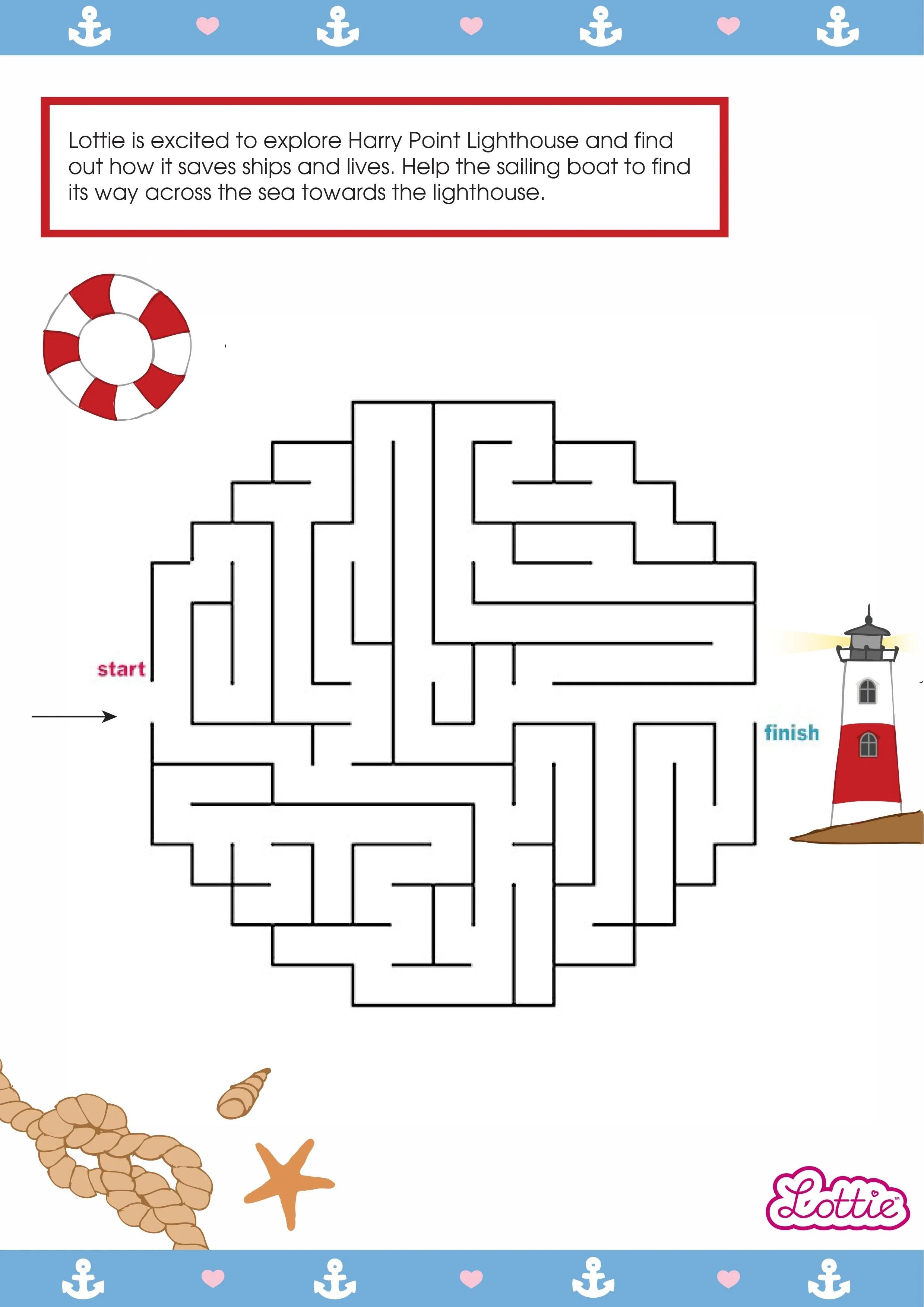Lighthouse Keeper Lottie Printable Maze Lottie Dolls