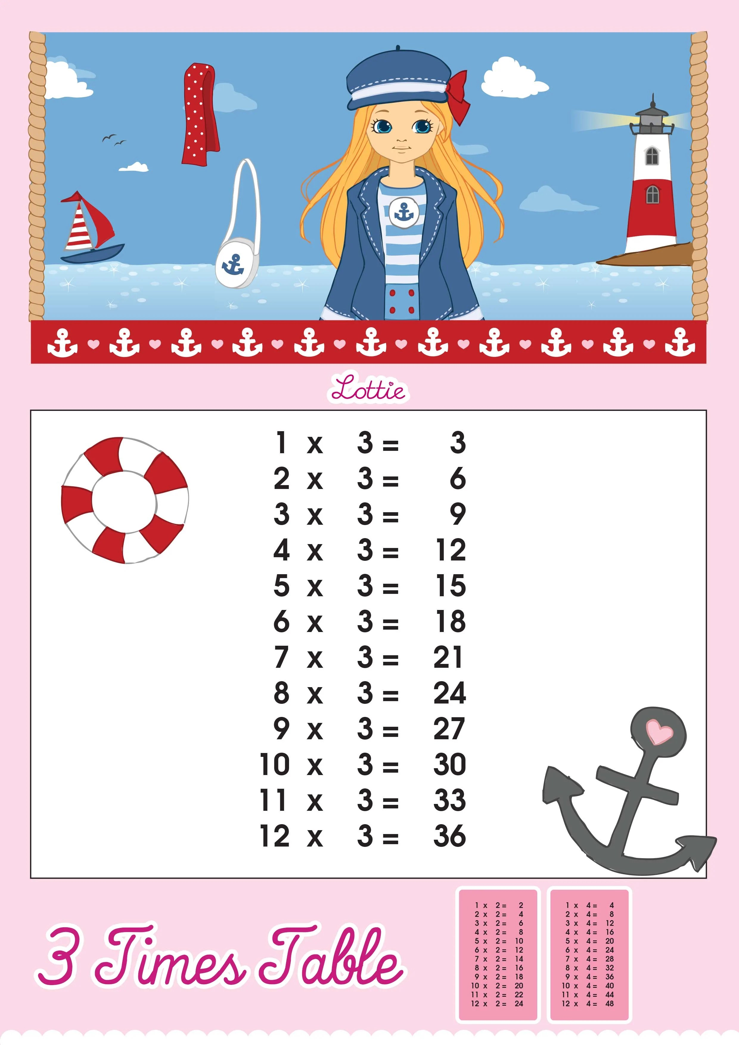 3 Times Table Printable Chart Lottie Dolls