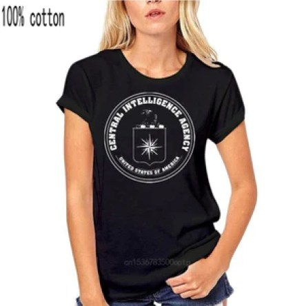 Open image in slideshow, CIA Central Intelligence Agency USA Navy Black Cotton T-shirt