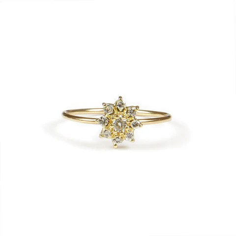 Anillo floweret de diamantes en Oro amarillo de 18 K