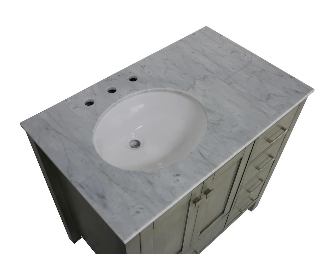 horizon 36 inch vanity with carrara marble top