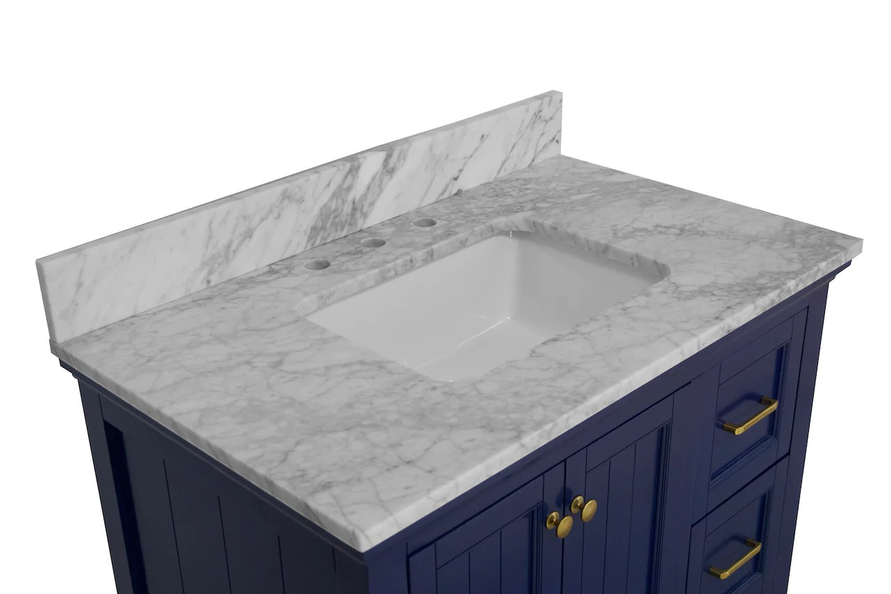 paige 36 inch vanity with carrara marble top