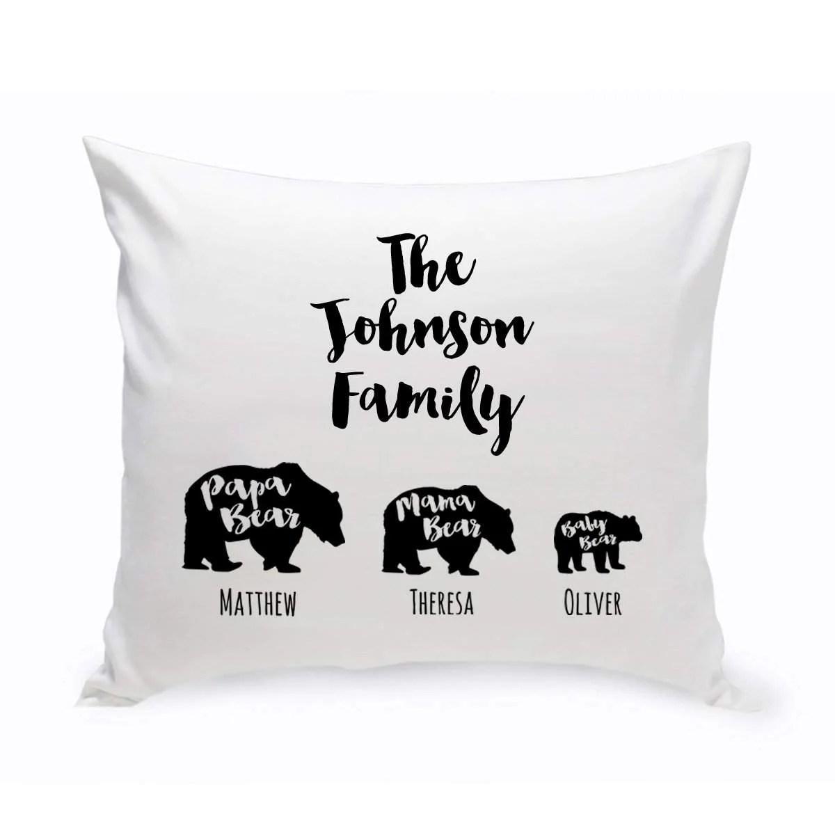 personalized family names bear throw pillows