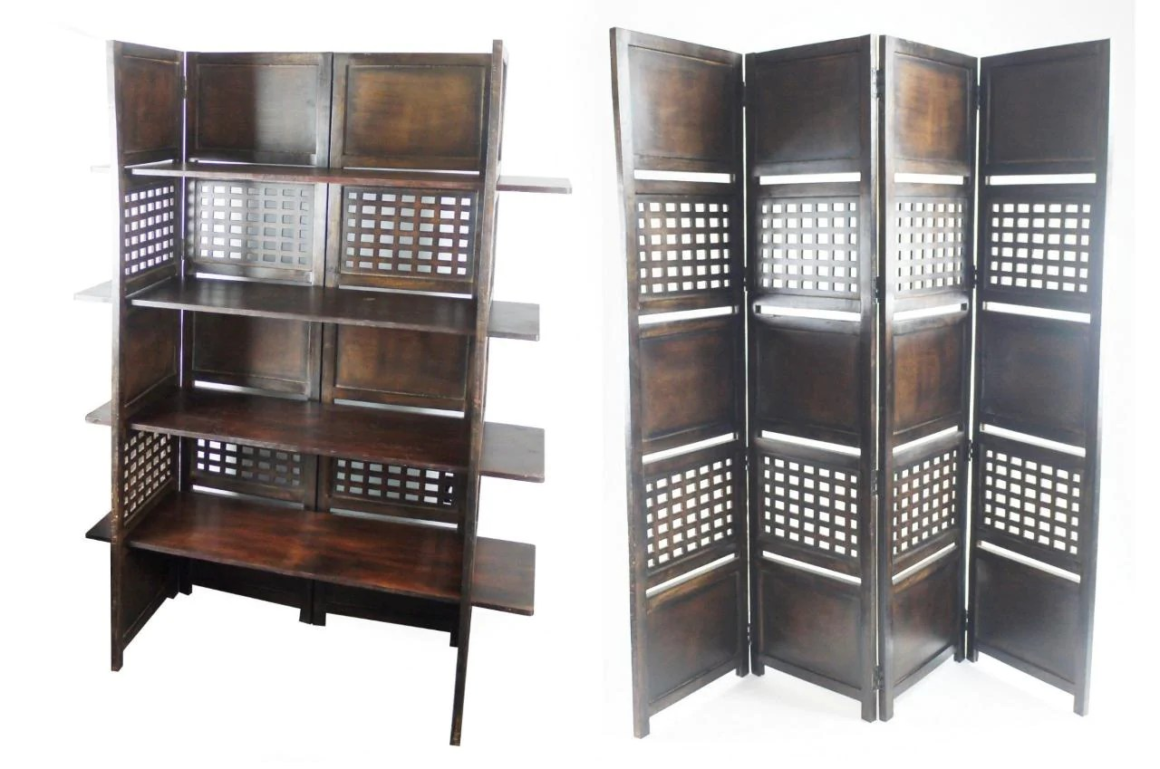4 Panel Heavy Duty Indian Bookcase Room Divider With 4 Shelves Dark Brown