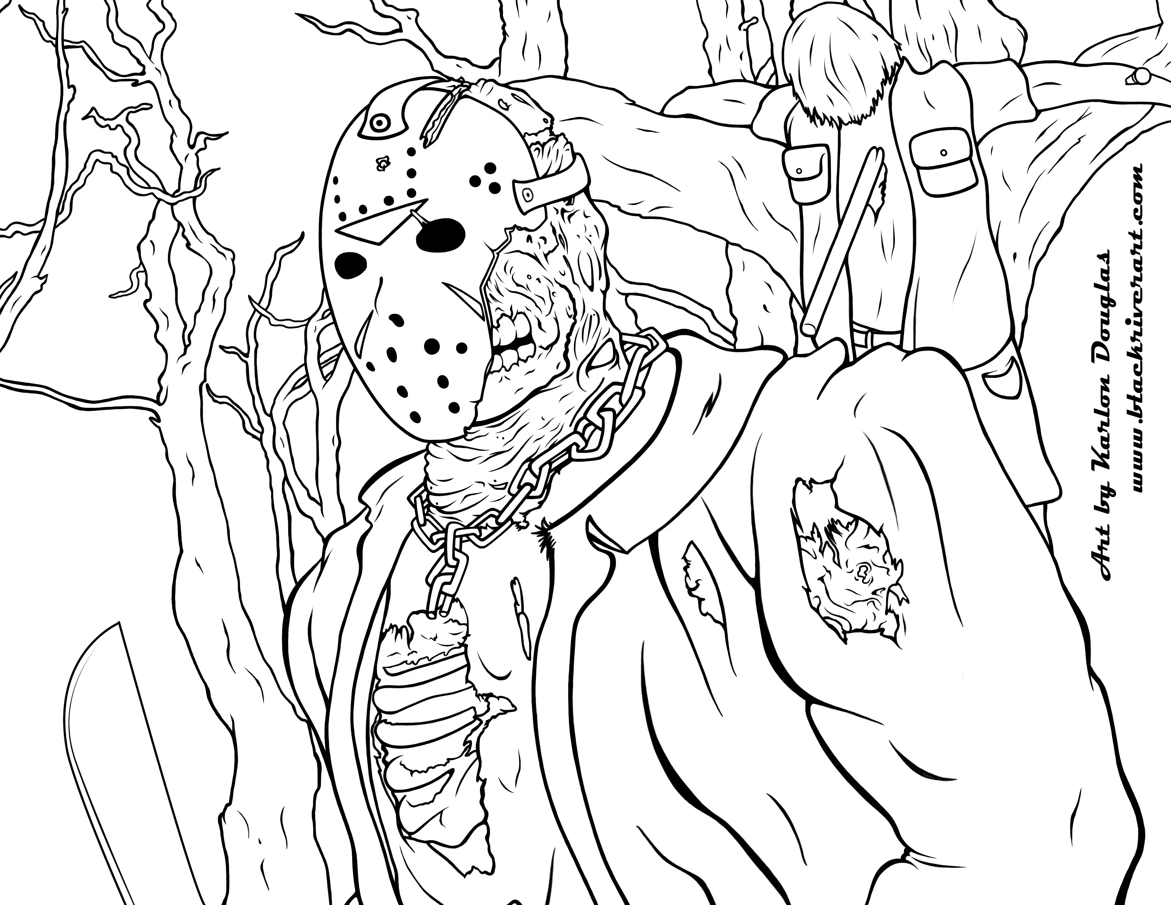 Friday The 13th Jason Coloring Pages Free Adult From