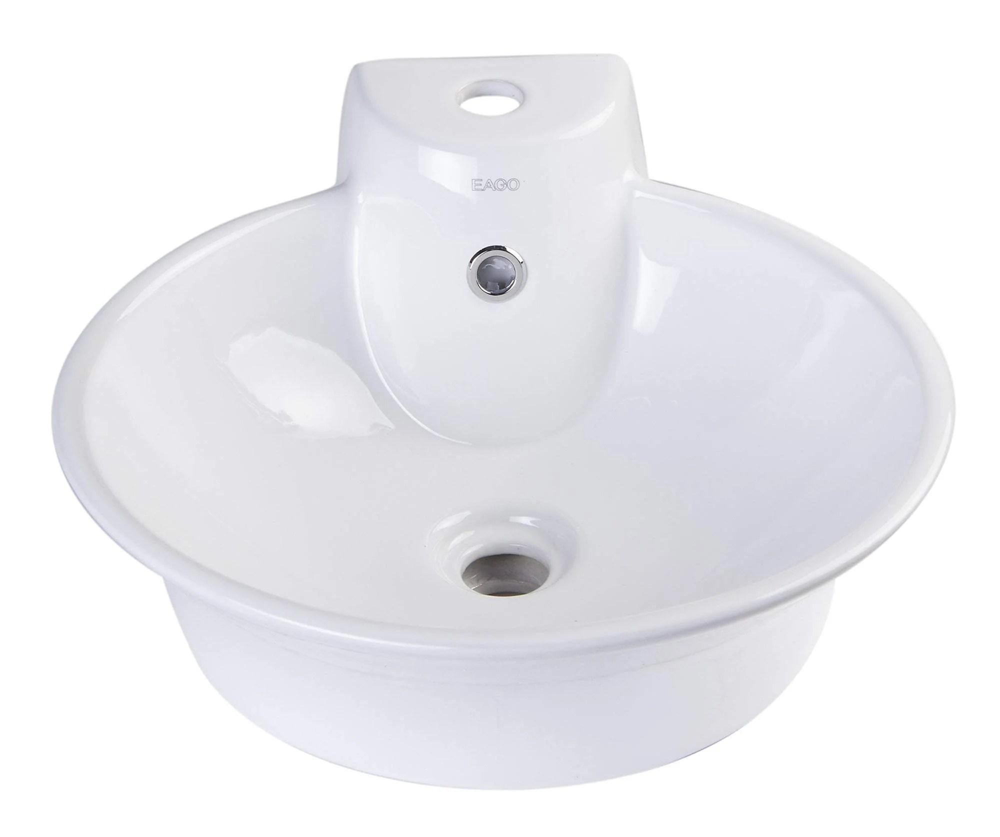 eago ba121 round ceramic above mount bath vessel sink with single fauc luxury bath collection