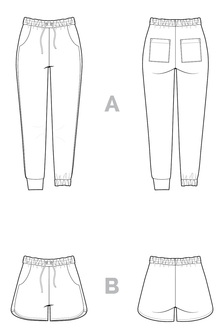 Line drawing of the Plateau Joggers.