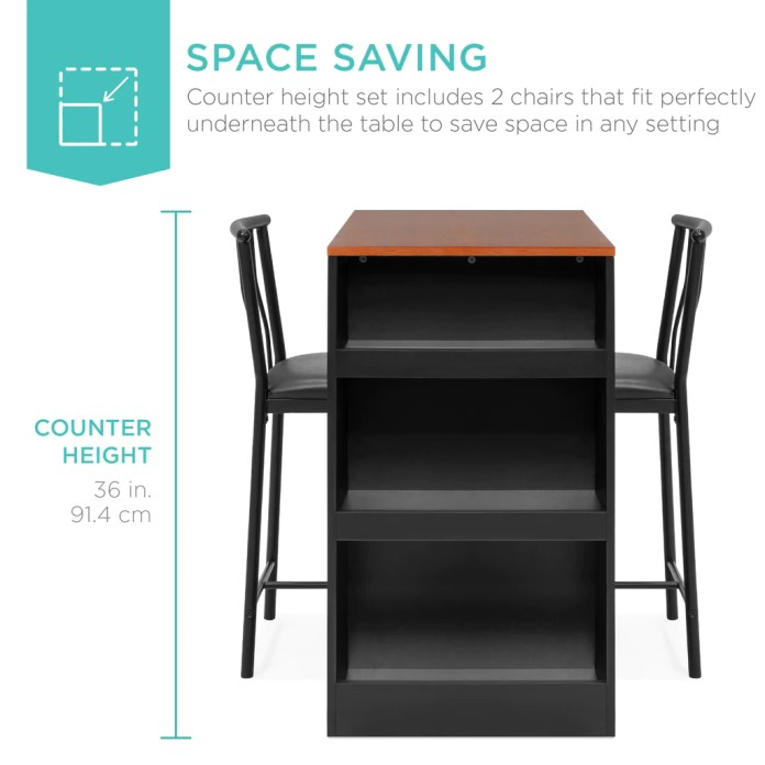 3 Piece Counter Height Kitchen Dining Table Set W Storage Shelves Best Choice Products