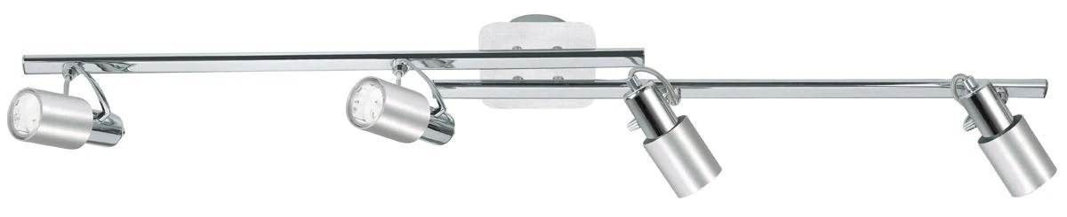 eglo lighting 20139a sines collection four light ceiling or wall mount track in chrome and aluminium finish