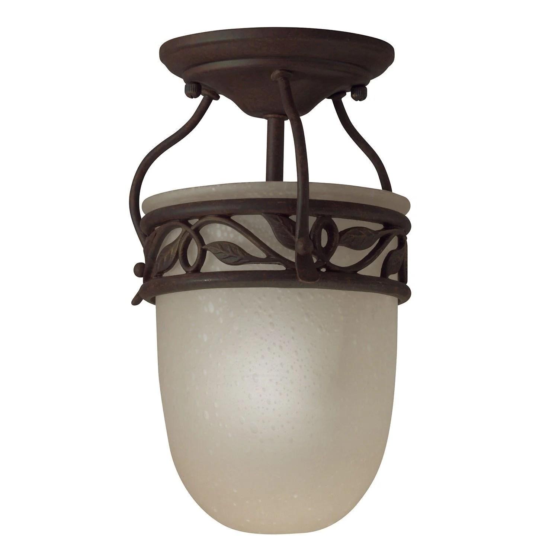aztec 38097 by kichler lighting one light semi flush ceiling mount in tannery bronze finish