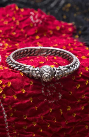 Silver Ornate Antique Tribal Kada with Hinge