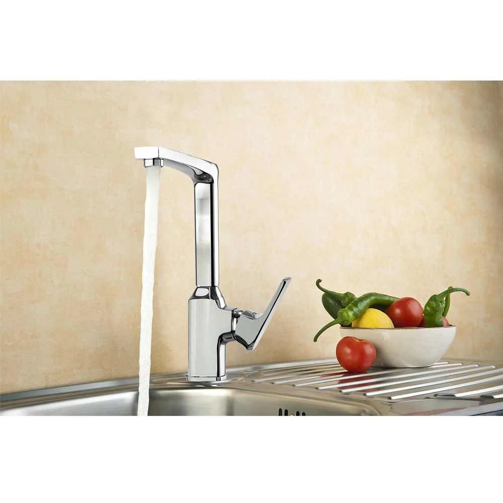 aa products 90 degree single handle 1 hole kitchen sink faucets spout mixer tap water kitchen faucet brass chrome finish km