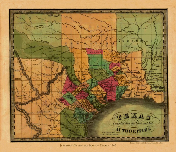 Greenleaf s Map of the Republic of Texas   1840     Copano Bay Press
