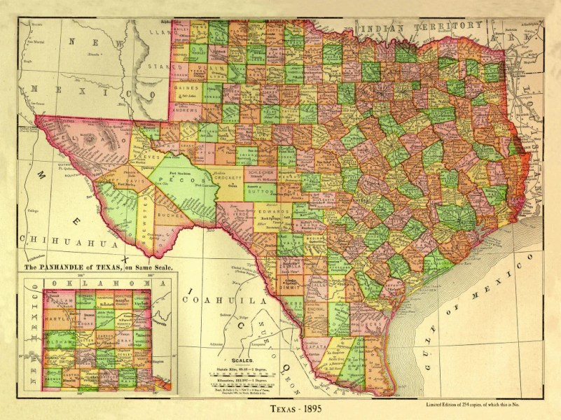 County Map of Texas   1895     Copano Bay Press County Map of Texas   1895