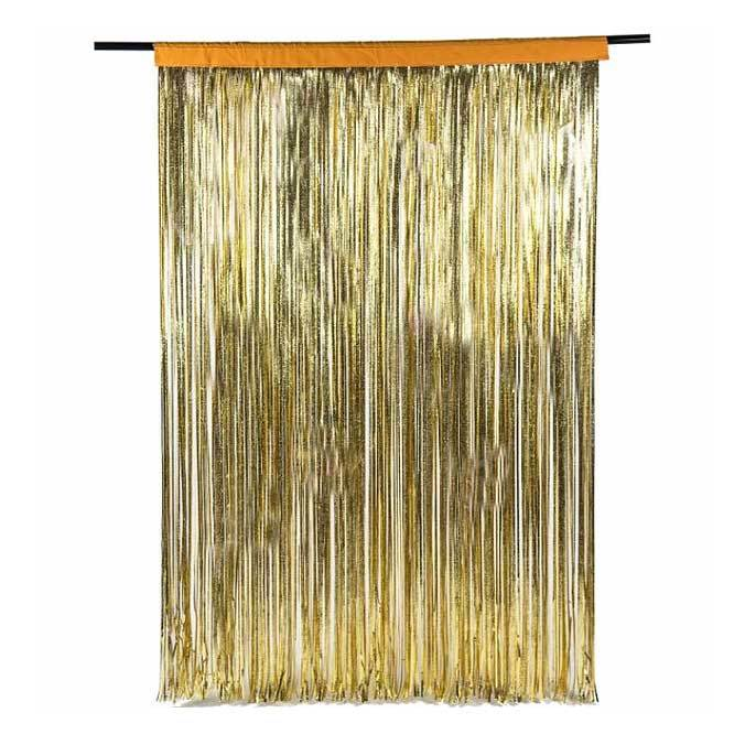 metallic gold fringe curtain