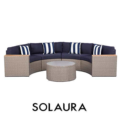solaura outdoor 5 piece sectional furniture patio half moon set